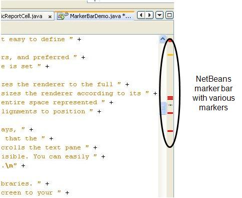 NetBeans screen shot showing its error stripe